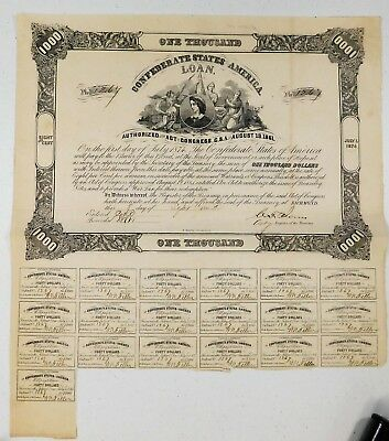 September 8Th, 1862 $1000 Confederate States Of America 8% Loan Bond