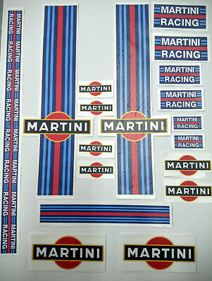 Kit 18 adesivi martini racing moto-casco-auto fondo blu