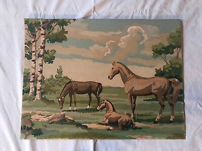 Vintage Paint By Numbers Horse Scene 15 x 20