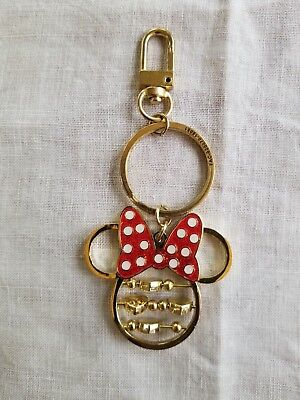 Disney Minnie Mouse Icon Gold Spinning Hearts Metal Keychain/Purse/Bag Clip