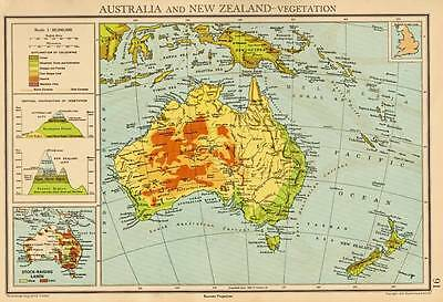 Australia and New Zealand - Vegetation 1940 Original Antique Colour Map