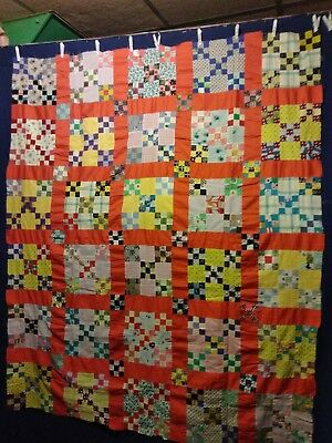 """Wonderful Vintage Double Nine Patch Quilt Top 62"""" by 74"""" Feed Sack? Patchwork"""