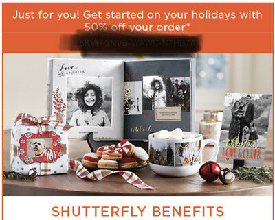 Shutterfly 50% Off Your Order - exp 12/31/18