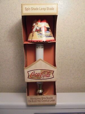 Coca-Cola Revolving Spin Shade Electric Candle Lamp New In Box Coke Collector