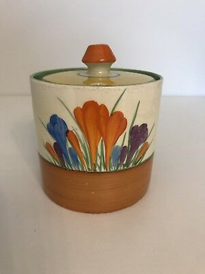 ORIGINAL 1930's CLARICE CLIFF JAM MARMALADE POT IN THE CROCUS PATTERN