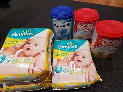 Pampers New Baby Nappies x3 & Aptamil First Infant x1 & Cow & Gate 6-12 Month...
