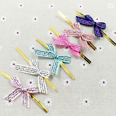 20pcs Multi Color Metallic Twist Tie With Bow Cello Candy Cookie Bag Party G