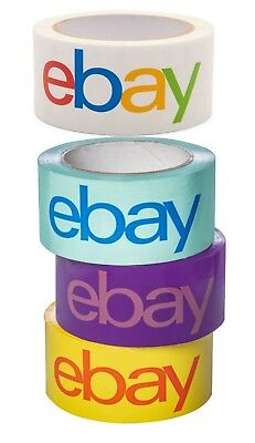 "eBay-Branded Packaging Shipping Tape 2"" x 75 Yards Blue, Purple, Yellow & White"