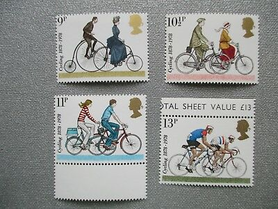 CYCLING 1878/1978 - complete set GB unmounted MINT POSTAGE STAMPS