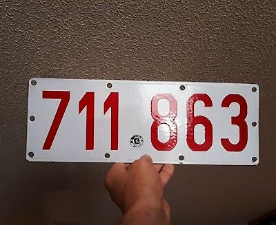 NEAR MINT 1920s-30's Early Belgium Porcelain License Plate Tag