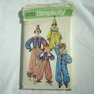 Halloween Adult Clown Pattern Costume Simplicity Size Small 34 Simplicity 9051