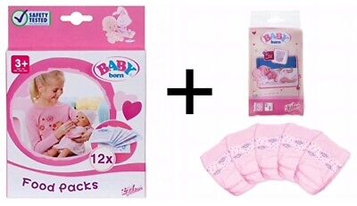 Baby Born Food Pack (12 sachets) plus Baby Born Nappy Pack (5 nappies)