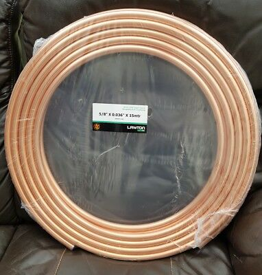 "REFRIGERATION AND AIR CONDITIONING COPPER PIPE 5/8""x0.036""x15mtrs."