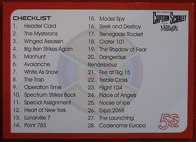 CAPTAIN SCARLET 50 YEARS - Card #36 - CHECKLIST - Unstoppable Cards 2017