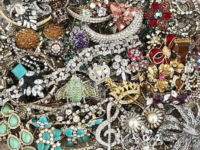 Large Vintage To Now Rhinestone Jewelry Lot 3+ Lbs Estate Find Wear Untested Rs