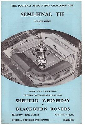 Sheffield Wednesday v Blackburn Rovers FA Cup semi final 1959-60 at Manchester C