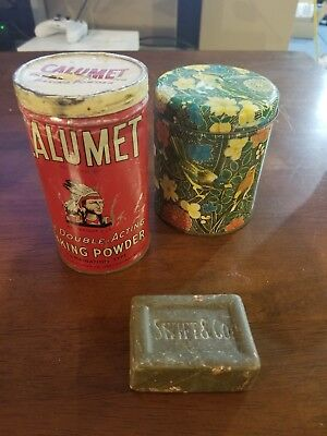 Vintage Calumet Double Acting Baking Powder Tin Chicago IL + Bird can & Soap