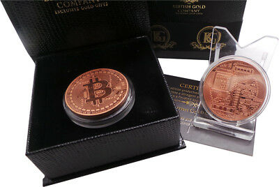 ROSE GOLD BITCOIN 18k Clad  Luxury Gift Digital Crypto Currency Wallet IN CASE