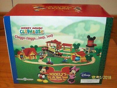 MICKEY'S  House/Garage SEE  YA REAL SOON! Wooden TRAIN Mickey Mouse Clubhse NEW