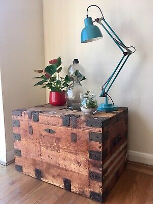 Victorian Pine Silver Chest Steamer Trunk Chest Large Coffee Table Campaign