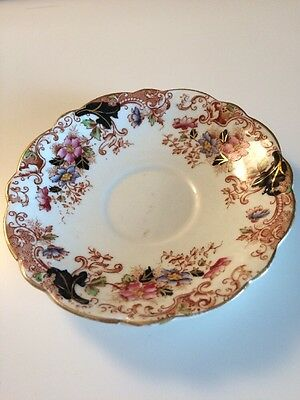 Vintage Queens China Saucer, pink and blue flowers, black and brown leaves