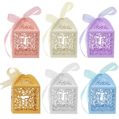 25/50/100Pcs Cross Laser Cut Candy Favor Gift Boxes Wedding Party Baby Shower