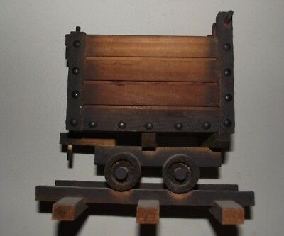 vintage woooden novelty ore cart mining collectable display folk art from az