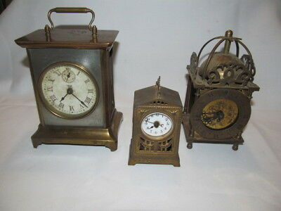 Vintage Lot of 3 Brass Carriage Clocks Parts or Repair, Brevete, Smith, Unknown