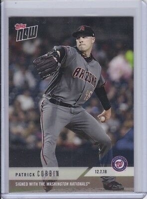 2018 Topps NOW OS58 Patrick Corbin Signed with the Washington Nationals