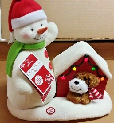 New 2011 Hallmark Deck The Halls Duo Animated Jingle Pals Snowman Doghouse Nwt
