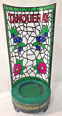 Vintage Tanqueray Bottle Display EXTREMELY RARE Advertising Stained Glass Metal9