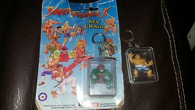 Lot Of 2 Vintage 1992 Street Fighter 2 Key chains One New CAPCOM - FREE SHIP!