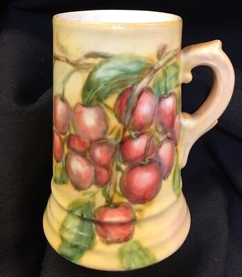 Antique Porcelain Tankard Hand Painted CHERRIES signed Triple Green Shield Mark