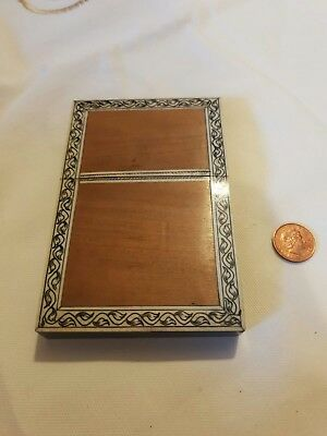 Antique Wooden Card Case With Inlaid Border  & pen work foliage decoration c1850