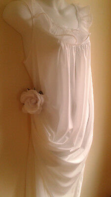 "Vintage Nightgown Nylon. Purest White L 44"" Crystal Pleating"