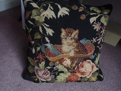 vintage hand worked tapestry cushions feather Inner kitten cat in a hat