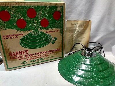 Garnet Green Silver Speckled Metal Revolving & Musical Christmas Tree Stand USA