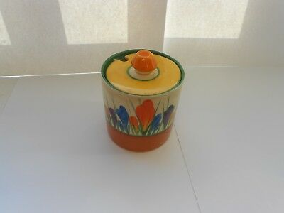 Clarice Cliff Crocus Hand Painted Preserve Pot and Lid