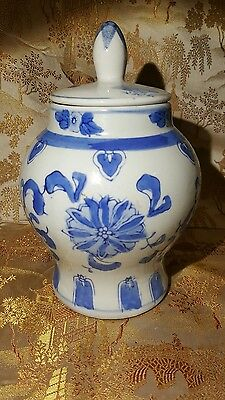 "Chinese Blue and White Porcelain Ginger Jar 7½"" with Cover"