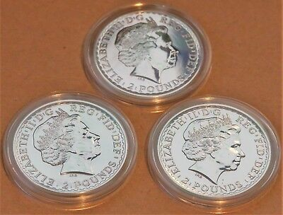 3x 2013 1oz Silver UK Britannia Bullion Coins *MINT* in capsules