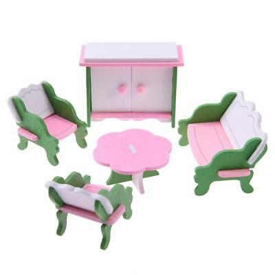 6X(1 set Baby Wooden Dollhouse Furniture Dolls House Miniature Child Play Toy T7