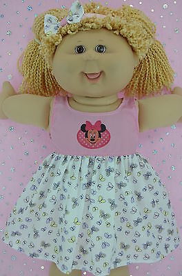 """Play n Wear Doll Clothes To Fit 16"""" Cabbage Patch PINK/BUTTERFLY DRESS~HEADBAND"""