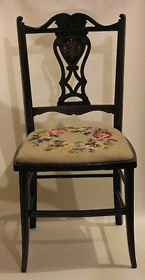 Beatiful Antique Georgian Childens Mahogany Inlaid Occasional Side Chair