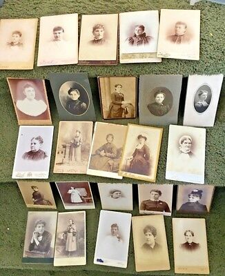 CABINET CARD,Vintage Photos, Lot of 25, All Women, Assorted locations