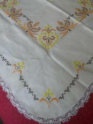 Vintage 1950's Embroidered Linen Table Cloth Yellow Orange Flowers Lace Edge