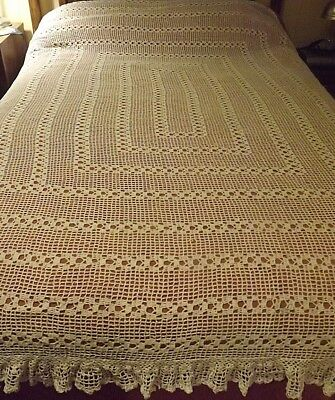 "Vintage Handmade Cotton Crochet Bed Cover, Ecru, 90"" x 92"""