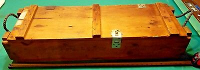 Vintage 105 Mm Howitzer Us Army Ammunition Wooden Crate Box W/rope Handles