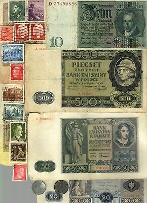 Nazi Banknote, Coin And Stamp Set  # 105