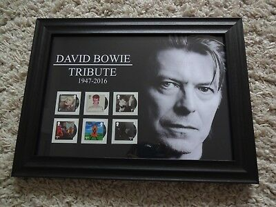 6 Special David Bowie Stamps Issued By The Royal Mail  Presented In A Frame