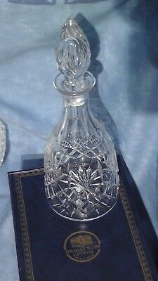 Thomas Webb Crystal Bottle Decanter Teardrop Stopper Boxed